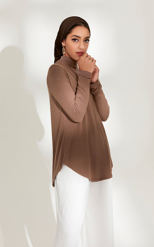 High Neck Relaxed Fit Top in Mocha