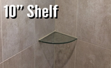 "10"" Radius - Quarter Round Glass Corner Shelf (CS10QTRD-3/8"" thick) - Veranda Tile & Decor"