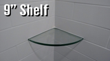 "CARTON OF 10 - 9"" Radius Tempered Glass Corner Shelf (9""x 9""x 1/2"") - Veranda Tile & Decor"