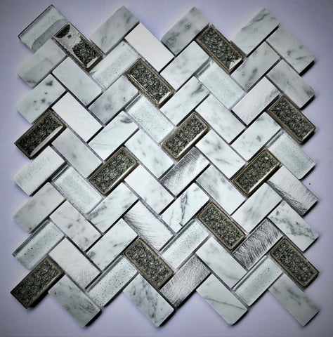 AL5205 12X12 Herringbone Glass Mosaic Tile - Veranda Tile & Decor