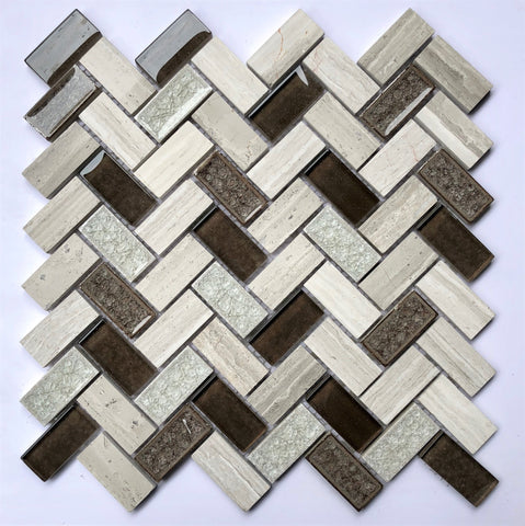 AL5208 12X12 Herringbone Glass Mosaic Tile - Veranda Tile & Decor