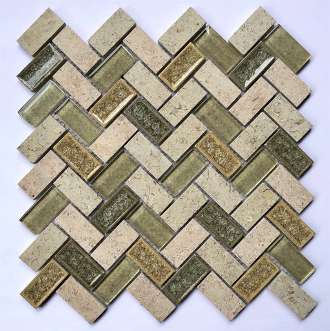 AL5210 12X12 Herringbone Glass Mosaic Tile - Veranda Tile & Decor