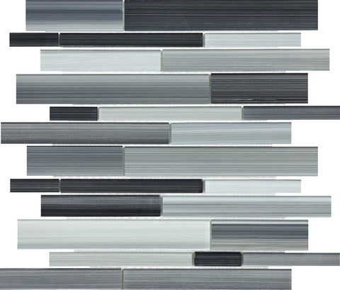 Carbon Random Strip Glass Mosaics - 35-030 - Bliss Fusion - Veranda Tile & Decor