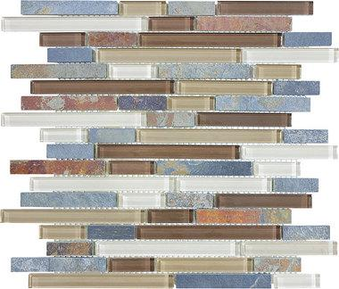 Amber Tea Glass Slate Linear Blend Mosaics - 35-023 - Bliss Glass Slate - Veranda Tile & Decor