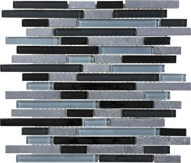 Black Timber Glass Slate Linear Blend Mosaics - 35-025 - Bliss Glass Slate - Veranda Tile & Decor