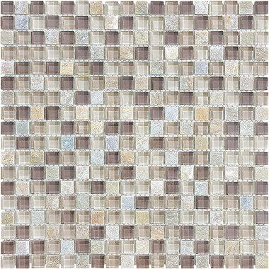 "5/8""X5/8"" Cotton Wood Glass Quartz Blend Mosaics - 35-020 - Bliss Glass Slate - Veranda Tile & Decor"