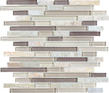 Cotton Wood Glass Quartz Linear Blend Mosaics - 35-026 - Bliss Glass Slate - Veranda Tile & Decor