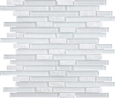 Norwegian Ice Glass Quartz Linear Blend Mosaics - 35-028 - Bliss Glass Slate - Veranda Tile & Decor