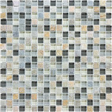 "5/8""X5/8"" Silver Aspen Glass Quartz Blend Mosaics - 35-021 - Bliss Glass Slate - Veranda Tile & Decor"