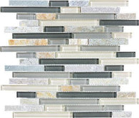 Silver Aspen Glass Quartz Linear Blend Mosaics - 35-027 - Bliss Glass Slate - Veranda Tile & Decor