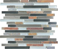 Smoky Mica Glass Slate Linear Blend Mosaics - 35-024 - Bliss Glass Slate - Veranda Tile & Decor