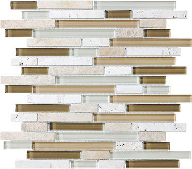 Bamboo Linear Blend Mosaics - 35-011 - Bliss Glass Stone - Veranda Tile & Decor