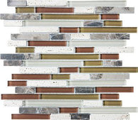 Cabernet Linear Blend Mosaics - 35-013 - Bliss Glass Stone - Veranda Tile & Decor