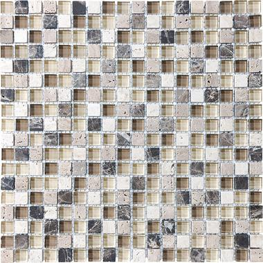 "5/8""X5/8"" Cappuccino Blend Mosaics - 35-002 - Bliss Glass Stone - Veranda Tile & Decor"
