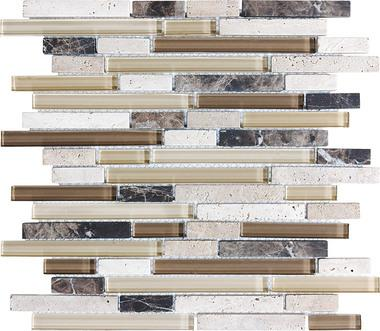 Cappuccino Linear Blend Mosaics - 35-010 - Bliss Glass Stone - Veranda Tile & Decor