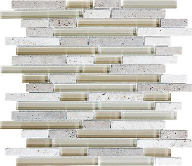 Creme Brulee Linear Blend Mosaics - 35-014 - Bliss Glass Stone - Veranda Tile & Decor