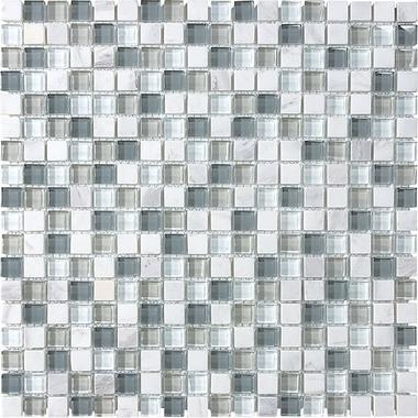 "5/8""X5/8"" Iceland Blend Mosaics - 35-008 - Bliss Glass Stone - Veranda Tile & Decor"
