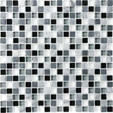 "5/8""X5/8"" Midnight Blend Mosaics - 35-004 - Bliss Glass Stone - Veranda Tile & Decor"