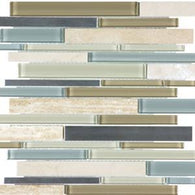 Sea Coast Linear Mosaics - 35-044 - Bliss Glass Stone Stainless - Veranda Tile & Decor