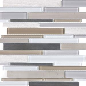 Twilight Mist Linear Mosaics - 35-050 - Bliss Glass Stone Stainless - Veranda Tile & Decor
