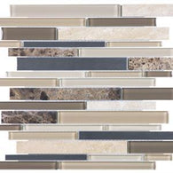 Woodland Park Linear Mosaics - 35-043 - Bliss Glass Stone Stainless - Veranda Tile & Decor