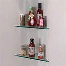 "Triangle Glass Corner Shelf (CS10TRI-3/8"" thick) - Veranda Tile & Decor"