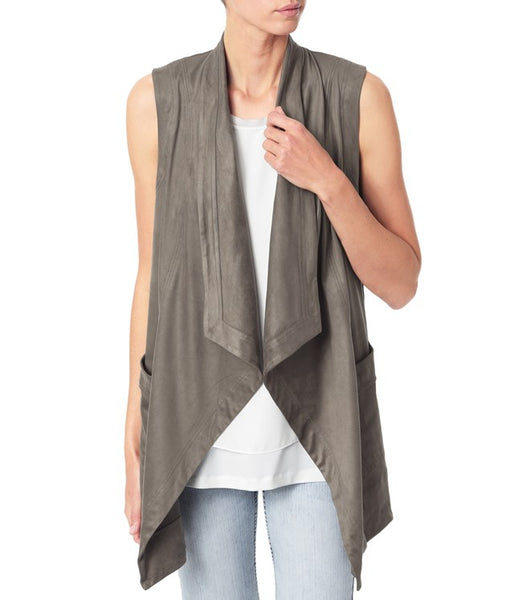 FAUX SUEDE DRAPED VEST