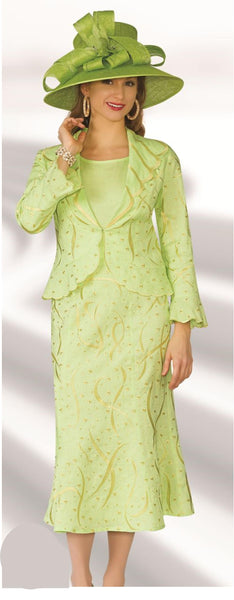 Lily and Taylor Linen Green 3pc Suit