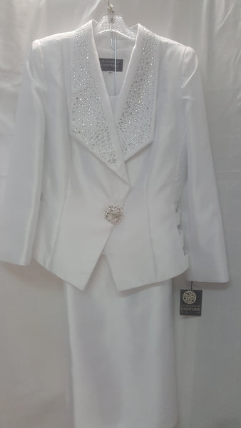 Lily & Taylor White 3pc Skirt Suit