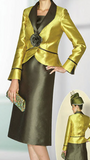 Lily & Taylor Gold Olive 2PC  Skirt Suit