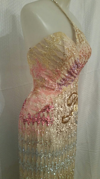 Multi Silk Beaded Gown