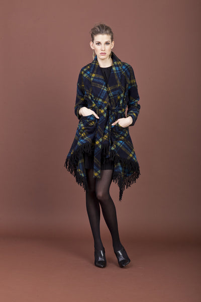 Scotland Pattern Fringe Coat by Samuel Dong