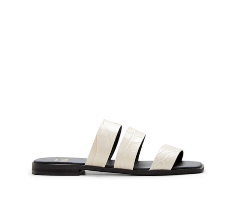 Lotus Woven Leather Slide