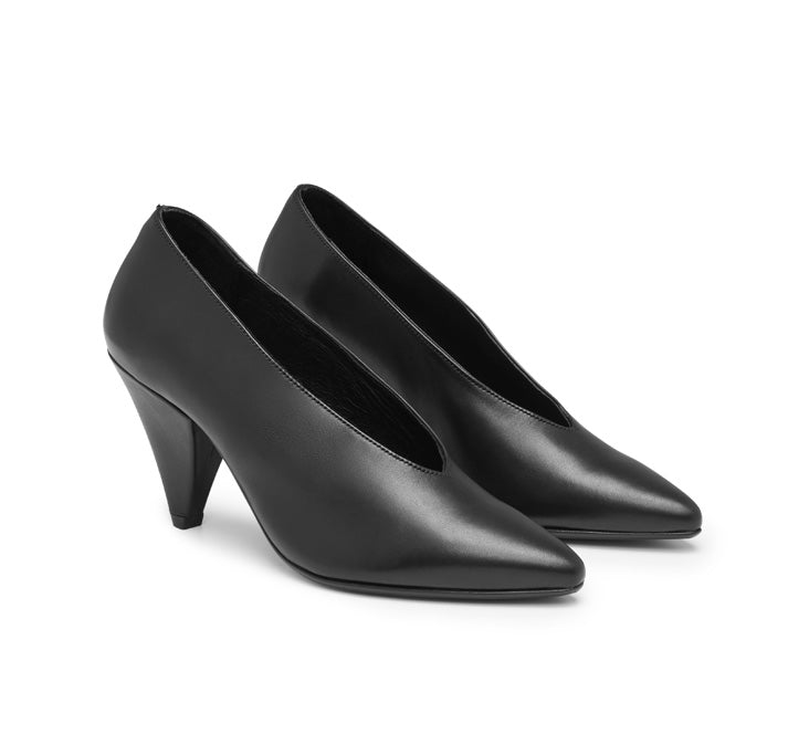 Fern leather court shoe