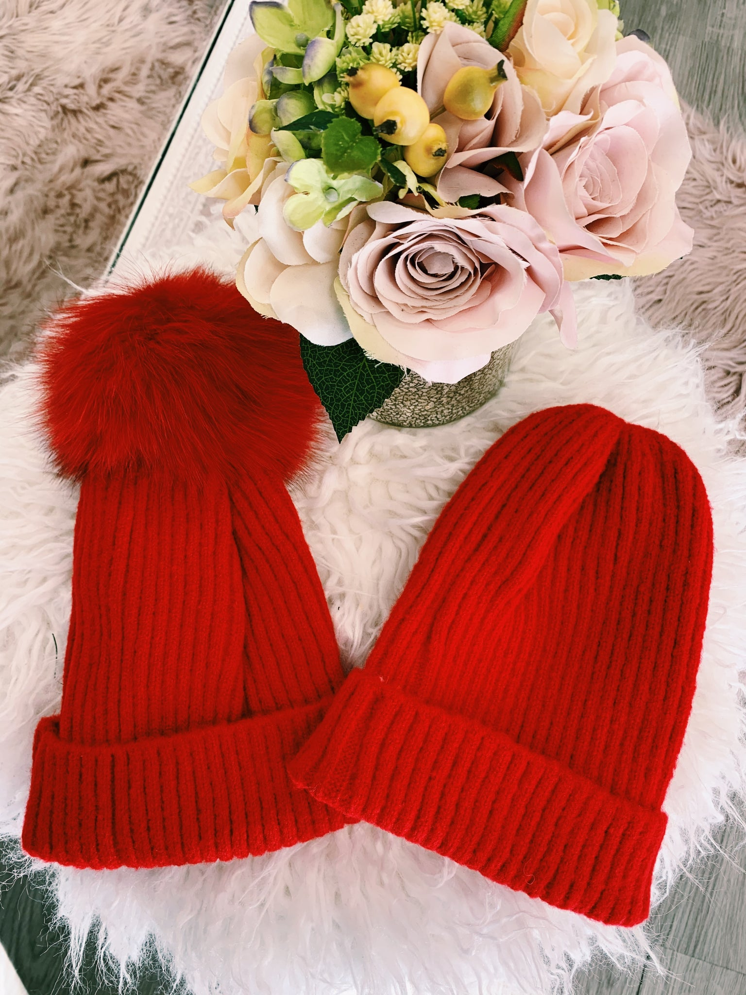 Red Ribbed Beanie