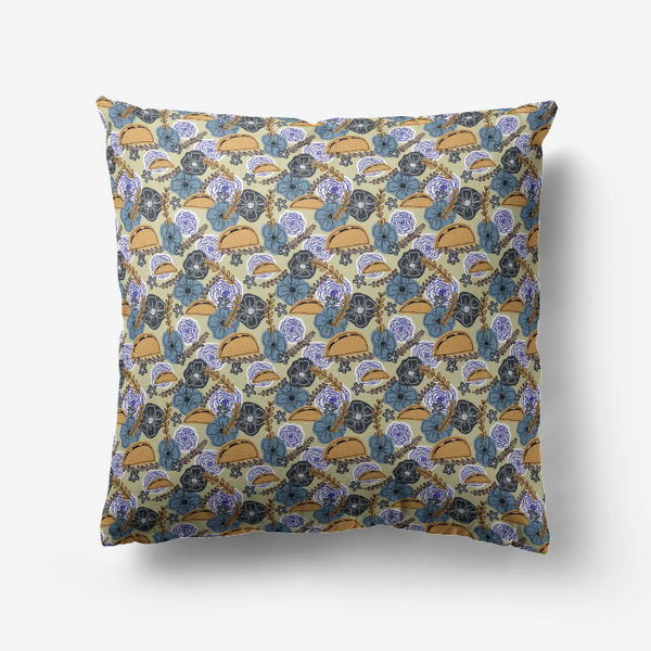 Floral Taco Throw Pillow