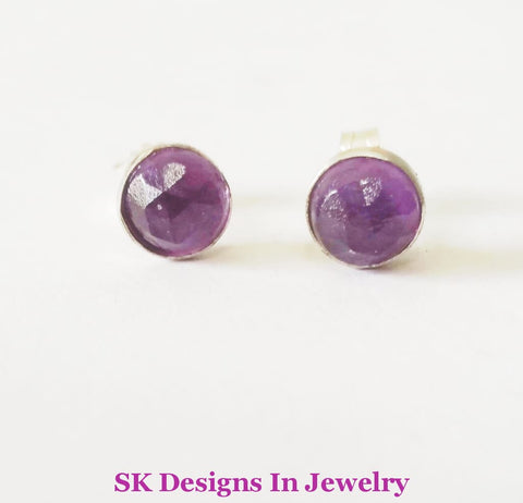 6Mm Amethyst Stud Earrings .925 Sterling Silver Girls & Womens Earrings