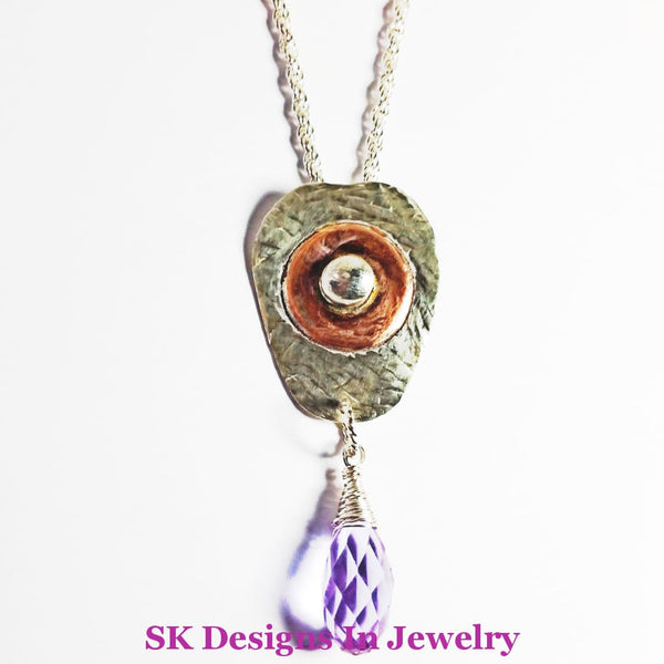 .925 Sterling Silver Copper & Amethyst Briolette Drop Pendant - Mixed Metals Pendants