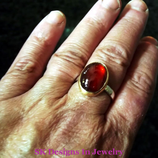 .925 Sterling Silver Garnet Ring Size 9 - Artisan One Of A Kind Ooak Handmade In Usa