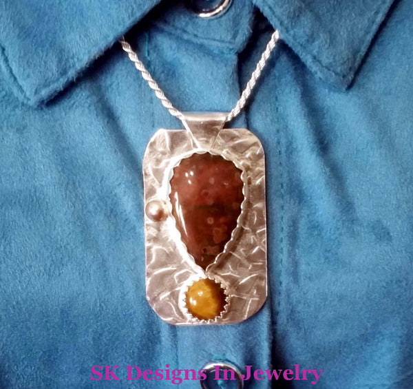 925 Sterling Silver Pendant With Gemstones Crazy Lace & Tigers Eye Mothers Day Gift Artisan Handmade
