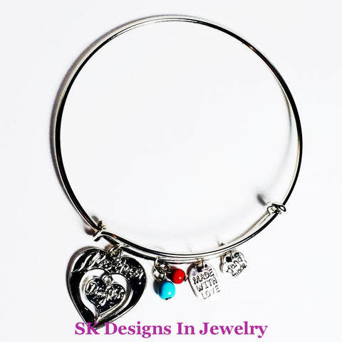 A & Charm Bracelet - Mother Daughter Alex Ani Style With Hearts W/charm