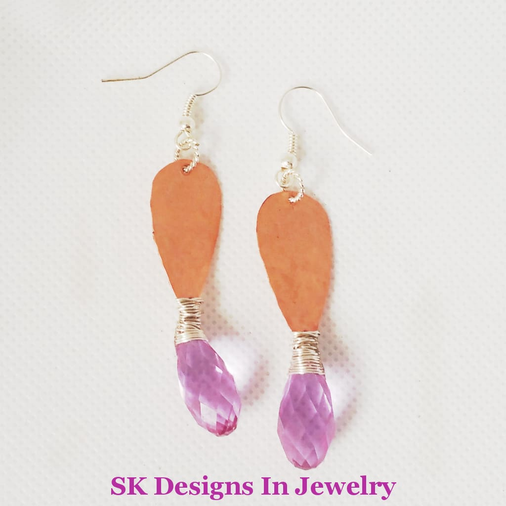 Amethyst And Copper Dangle Earrings - Artisan Made In The Usa Earrings