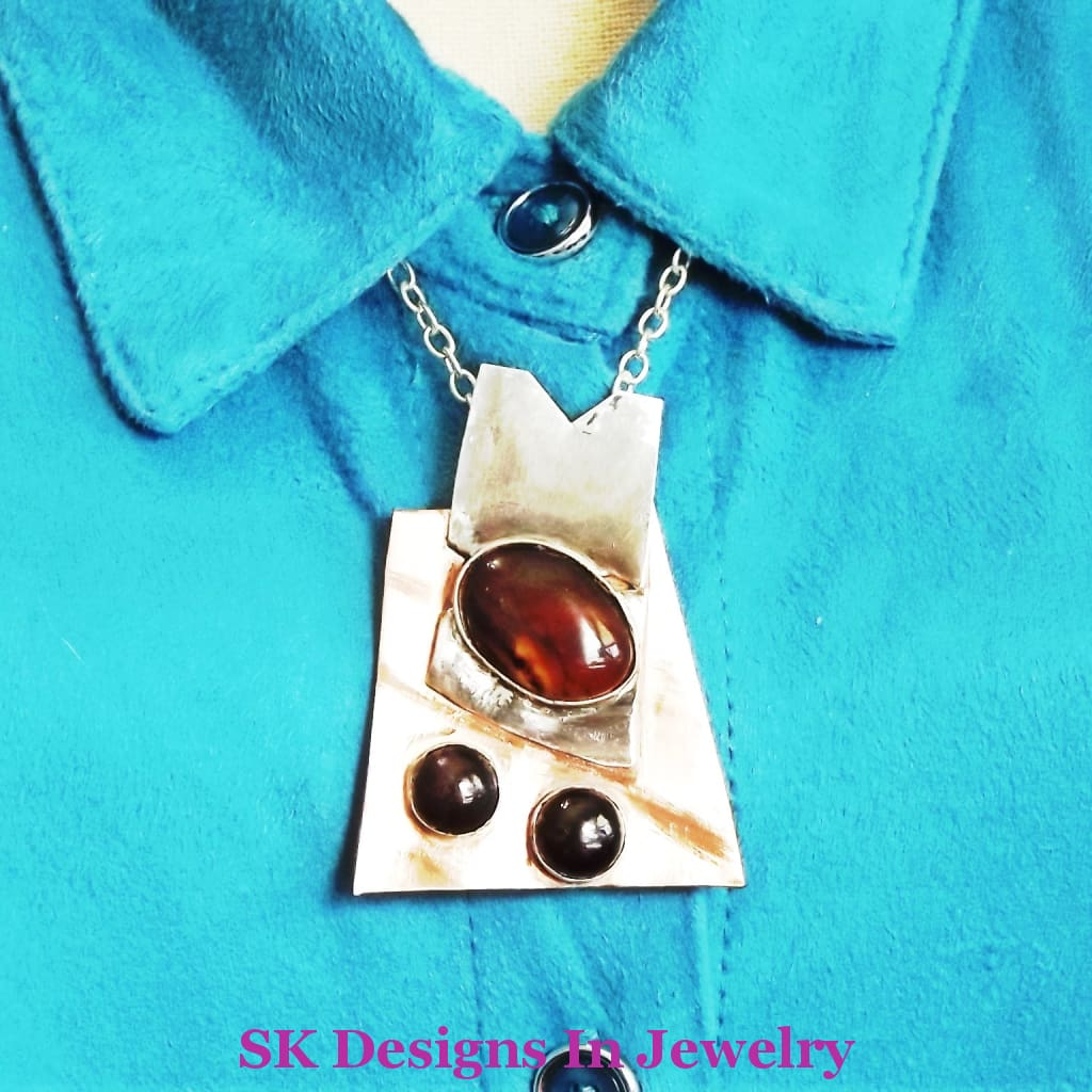 Artisan Mixed Metals Pendant .925 Sterling Silver & Copper With Garnets And Banded Agate