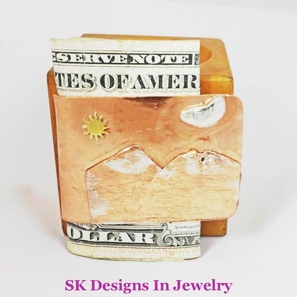 Artisan Money Clip - Copper & Sterling Silver Mixed Metals Mens Accessories Mountains Moon Sun Other