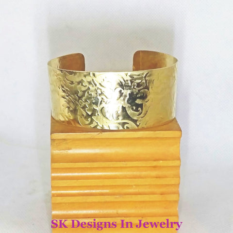 Artisan One Of A Kind Womens Brass Cuff Bracelet