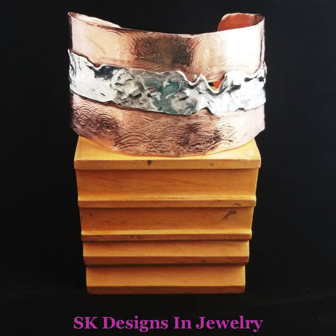 Artisan Ooak Wide Cuff Bracelet - .925 Sterling Silver & Copper Mens Or Womens Bracelet