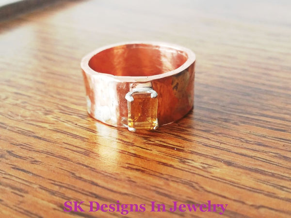 Artisan Wedding Bands Copper And Citrine Band Sterling Silver Fused To - Mixed Metals Hers Ring