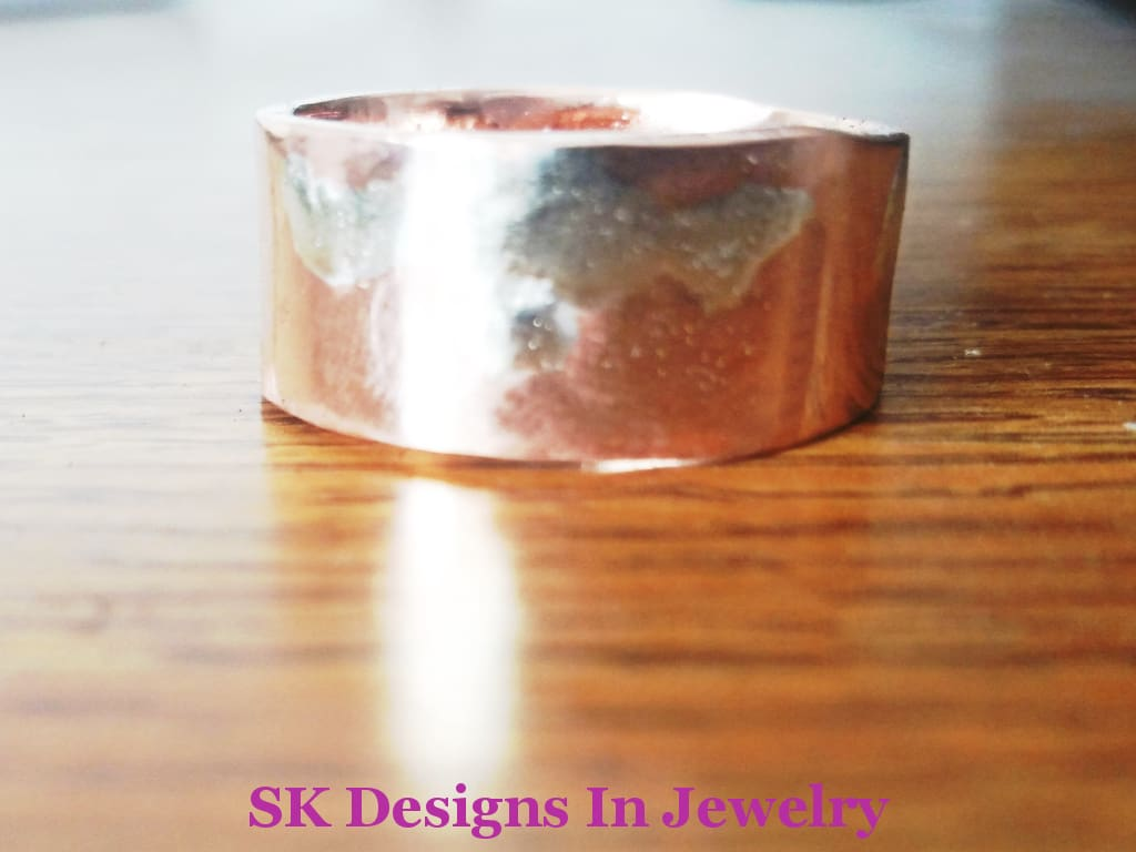 Artisan Wedding Bands Copper And Citrine Band Sterling Silver Fused To - Mixed Metals His Ring