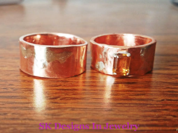 Artisan Wedding Bands Copper And Citrine Band Sterling Silver Fused To - Mixed Metals Set Ring