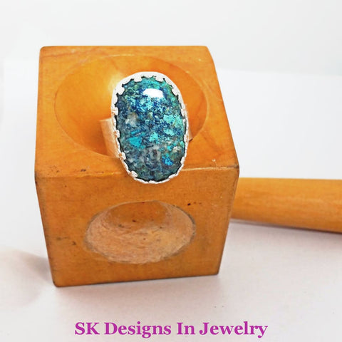 Azurite & Sterling Silver Ring - Size 12 Unisex Womens Thumb Mens
